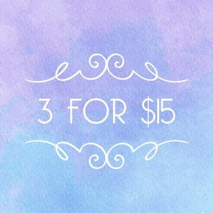 3 for $15 on select items